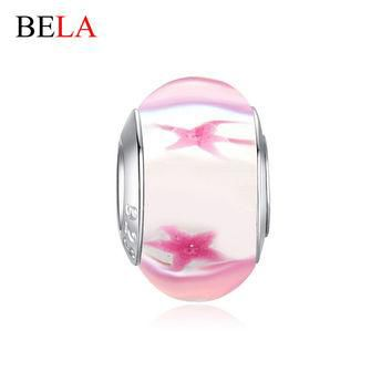 European Jewelry Silver Plated Charms Pink Lampwork Murano Glass Starfish Beads Fit Or