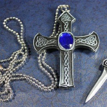Super Knife CELTIC Cross Necklace Hidden Knife