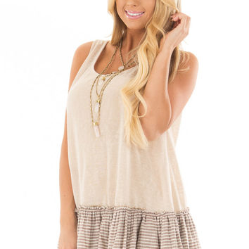 Taupe Tank Top with Ruffle Details