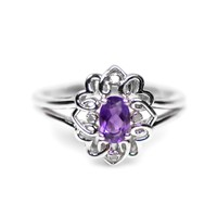 Sterling Silver Oval Amethyst & Diamond Filigree Ring - Size 7