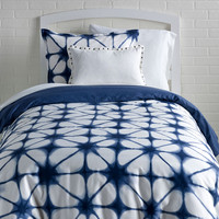 Chambray Denim / Indigo Tie Dye Reversible Duvet Cover and Sham Set