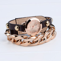 Punk Plated Chain Leather Bracelet