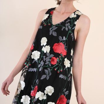 Umgee Floral Embroidered Shift Dress