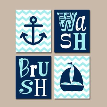 Anchor Sailboat BATHROOM Wall Art, CANVAS or Print Nautical Ocean Bathroom Decor, Navy Aqua Wash Brush, Brother Sister, Chevron, Set of 4