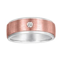 Sansone Collection 14k Rose Gold & Argentium Sterling Silver 1/8-ct. T.W. Certified Diamond Wedding Band - Men (Grey)