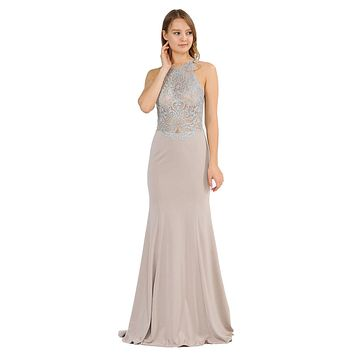 Mocha Mermaid Long Prom Dress with Lace Appliques