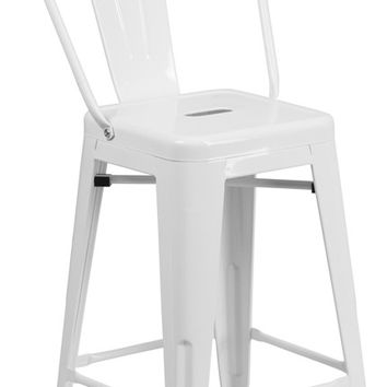 24'' High White Metal Indoor-Outdoor Counter Height Stool