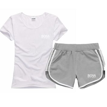 Trendsetter Hugo Boss Women Men Casual Sport T-Shirt Top Tee Shorts Set Two-Piece