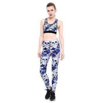 2018 New Women's Work Out Suits Floral Skull Print Sexy Push Up Leggings Two Piece Set Fitness Clothing Tank Top Suits
