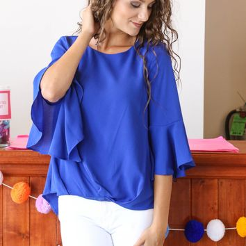 Bell Sleeve Top, Cobalt