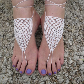 Crochet barefoot sandals foot jewelry from Serbiangirl on Etsy