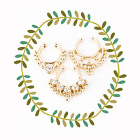Gold Faux Septum Piercing Set, Clip on Nose Ring Set