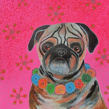 Pug Print - Pug Dog Print - Pug Dog Art - Quirky Pug -  Pug Dog Painting - ArtBeatriceM - Colorful Pug Art - Paintings Of Pugs - Cute Pug