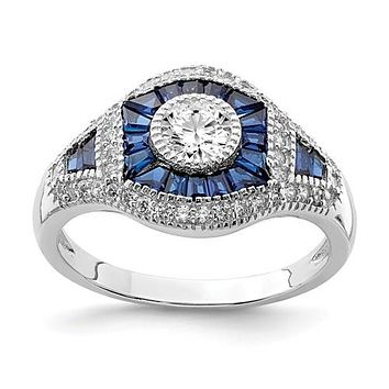 Sterling Silver Created Blue Spinel And CZ Ring