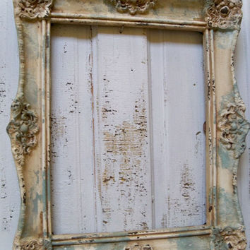 Weathered seafoam ornate frame large beachy cottage wall home decor 17 1/2 by 21 anita spero
