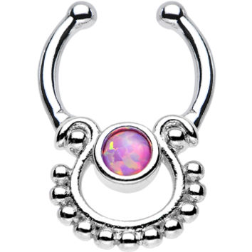 Pink Opal Egyptian Goddess Non-Pierced Clip On Septum Ring | Body Candy Body Jewelry
