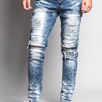 Destroyed Skinny Jean with Zippered Knee DL1150 - O4B