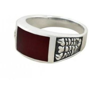 925 Sterling Silver Men's Scorpion Rectangular Genuine Carnelian Ring
