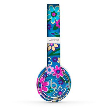 The Bright Pink & Blue Vector Floral Skin Set for the Beats by Dre Solo 2 Wireless Headphones