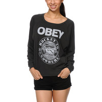 Obey Rocket To Nowhere Dark Grey Raglan Top