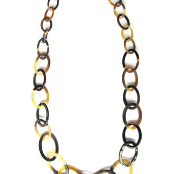 Beautiful long horn chain necklace, chain link necklace, black amber chainmaille, chainmail, fashion jewelry, handmade, ecofriendly material