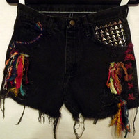 Black Tribal Cut off Shorts Colorful Silks and by twazzy on Etsy