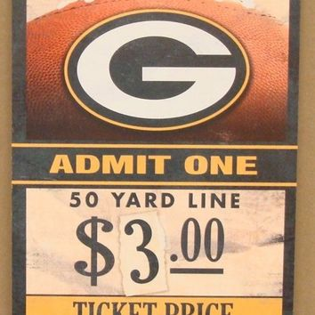 "GREEN BAY PACKERS GAME TICKET ADMIT ONE GO PACK GO WOOD SIGN 6""X12'' WINCRAFT"