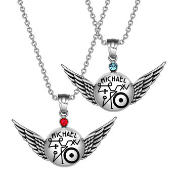 Archangel Michael Magic Planetary Amulets Set Angel Wings Royal Red Sky Blue Crystals Pendant Necklaces
