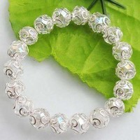 Silver Lace with Crystal Clear Bead Stretchy Bracelet