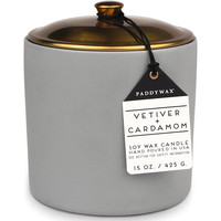 Hygge Collection Soy Wax Candle In Gray Ceramic Pot with Copper Lid, 15-Ounce, Vetiver & Cardamom
