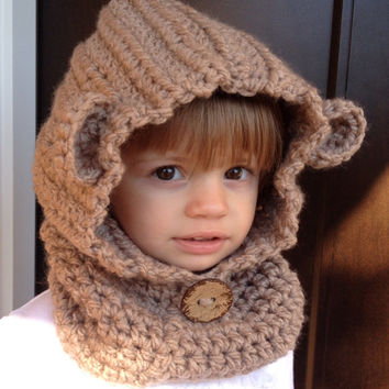 Children's bear hat, bear cowl, children's hooded cowl, children's hooded scarf