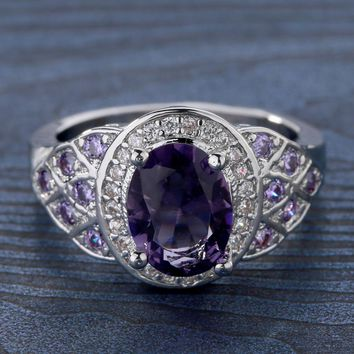 Fashion Women Crystal Rings Purple Copper Zircon Wedding Party Jewelry Elegant Gift