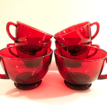 Set of Six Anchor Hocking Ruby Red Punch or Coffee Cups. Bridal Shower and Wedding Decor. Holiday Drink Ware.
