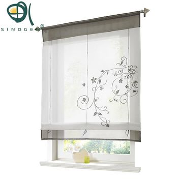 Sinogem Brand 2017 Pastoral Embroidered  Roman Short Curtain Sheer Window Kitchen Curtain For Living Room 4 color,4 sizes,1PC