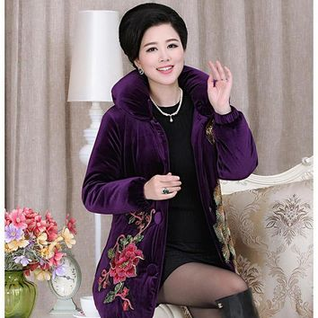 2017 Autumn Winter Jacket Coat Middle-Aged Women Long Sleeve Peacock Embroidery Cotton Jacket Women'S Parkas X747