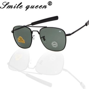 2016 Newest MILITARY AO Brand Sunglasses Men Optical Glass Lens Metal Alloy Frame Pilot Sun Glasses Oculos De Sol Masculino