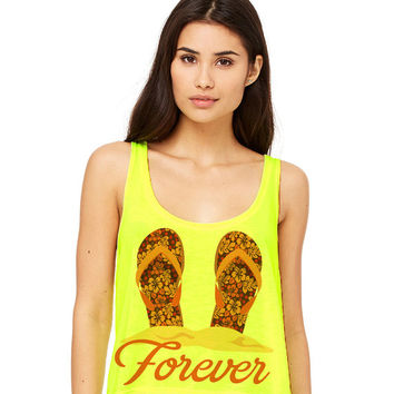 Neon Yellow Cropped Tank Top - Flip Flops Forever - Summer Outfit Spring Sand Sunglasses Sandals