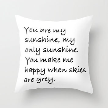 Black and White Pillow - You Are My Sunshine - Kids Pillows - Decorative Pillows - Velveteen Pillow Cover - Modern Kids Decor - Modern Decor