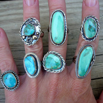 Turquoise Ring, Natural Arizona Kingman Turquoise and sterling silver ring, Silver Ring, Genuine Turquoise