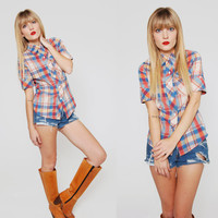 Vintage 1970s PLAID Button Down Shirt Short Sleeve AMERICANA Indie Top Small