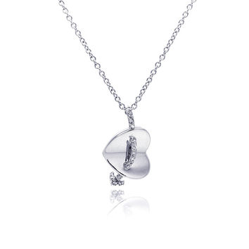 .925 Sterling Silver Rhodium Sideway Heart Arrow Cubic Zirconia Necklace 18 Inches