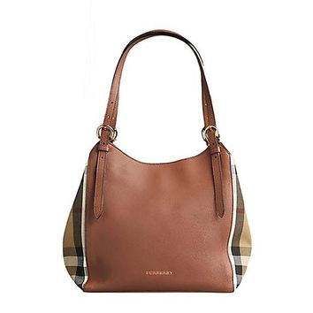 DCCKUG3 Tote Bag Handbag Authentic Burberry Small Canter in Leather and House Tan color Made in Italy