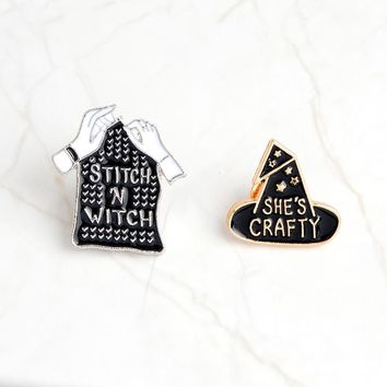 Trendy Fashion explosions enamel personality brooch original he is a witch magic gloves collar corsage armband denim jacket lapel badge AT_94_13
