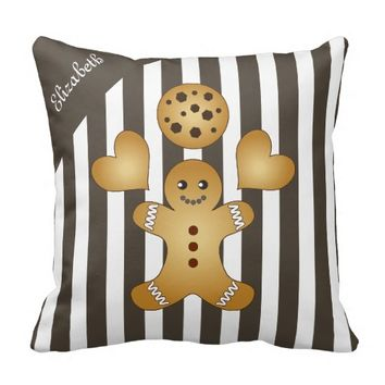 Cute Team Cookie Personalized Name Striped Pretty Throw Pillows