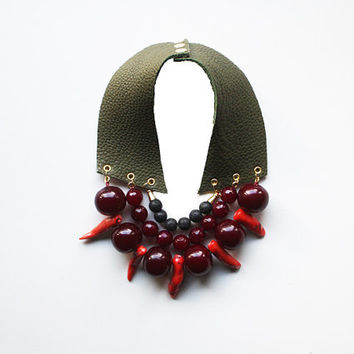 CORAL ARMY - Leather Necklace Bib Necklace Coral Jewelry Lava Rock Necklace Big Beaded Necklace Natural Sea Coral