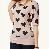 Hearts Lace Back Dolman Top