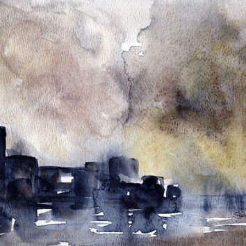 Watercolor Painting Abstract Cityscape Fine Art Print 8 x 10