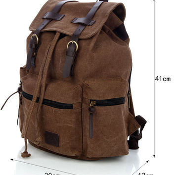 Brown Vintage Canvas Backpack Satchel Rucksack Unisex School Travel Bag for Men Women
