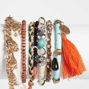 set of 6 bracelets with thread tassel | maurices