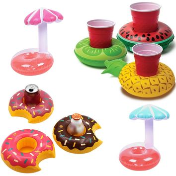 Mini Water Coasters Floating inflatable cup holder Swimming pool drink float toy cup stand Water piscina Mat zwembad accessories